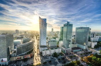 A view of the Warsaw skyline - the city is implementing a smart city project